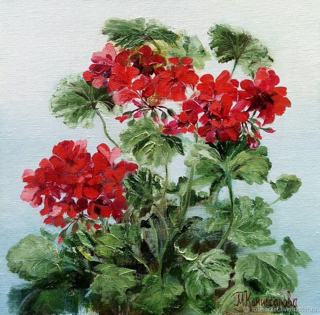 Painting with flowers geranium Bush, Pictures, Krasnodar,  Фото №1