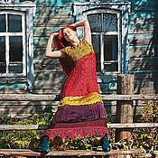 """Одежда ручной работы. Ярмарка Мастеров - ручная работа """"Малина и лайм"""" Авторское вязаное мини-платье с косами и мит. Handmade."""