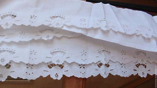 Винтажные предметы интерьера. Ярмарка Мастеров - ручная работа. Купить 4 старинных подзора 105х17см, ручная вышивка ришелье. Handmade.