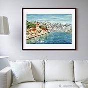 Картины и панно handmade. Livemaster - original item Painting Mediterranean landscape Sea mountains city oil on canvas. Handmade.