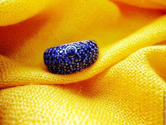 """Кольца ручной работы. Ярмарка Мастеров - ручная работа. Купить Серебряное кольцо  с камнями""""Нюанс"""". Handmade. Тёмно-синий, родиевое покрытие"""