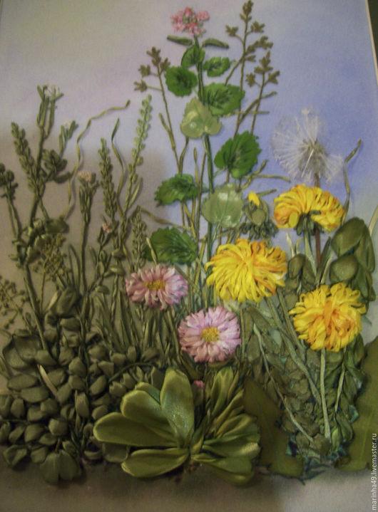 Картины цветов ручной работы. Ярмарка Мастеров - ручная работа. Купить Картина вышитая лентами Полевые цветы. Handmade. Вышивка