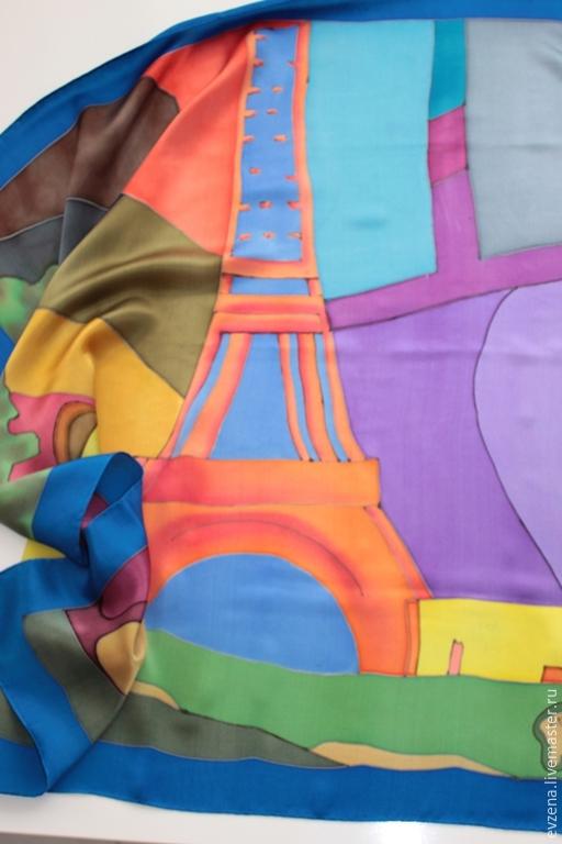 Шарфы и шарфики ручной работы. Ярмарка Мастеров - ручная работа. Купить Париж. Handmade. Разноцветный, атлас