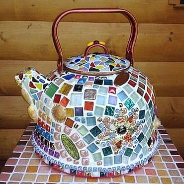 Посуда ручной работы. Ярмарка Мастеров - ручная работа Чайник винтажный мозаичный. Handmade.