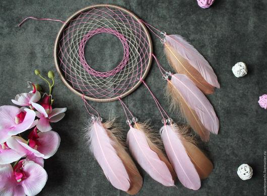 """Ловцы снов ручной работы. Ярмарка Мастеров - ручная работа. Купить Ловец снов """"Орхидея"""". Handmade. Бледно-розовый, основа"""