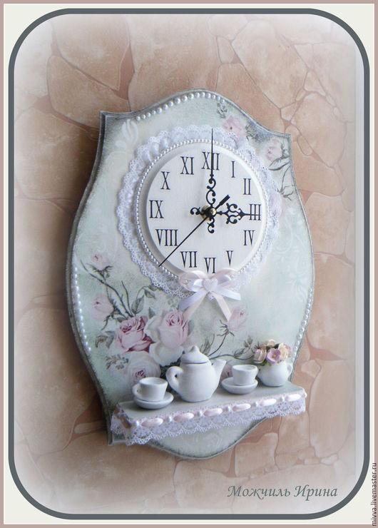 """Часы для дома ручной работы. Ярмарка Мастеров - ручная работа. Купить Часы панно с полочкой """"Нежность утра"""" (""""Нежная Роза""""). Handmade."""