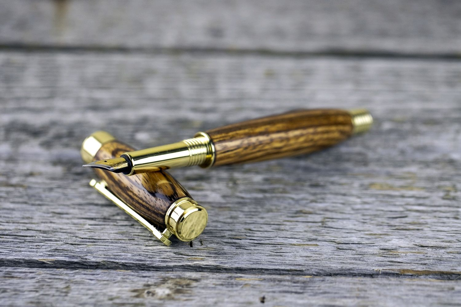 bestseller fountain pen made of solid zebrano with engraving, Handle, Moscow,  Фото №1