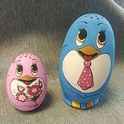 """Русский стиль ручной работы. Ярмарка Мастеров - ручная работа Набор соль и перец """"Пингвин"""". форма яйцо. Handmade."""