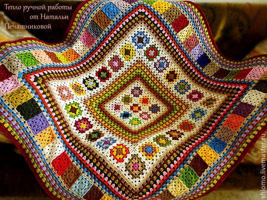 """Текстиль, ковры ручной работы. Ярмарка Мастеров - ручная работа. Купить Вязаный плед """"Уютный дом"""". Handmade. Комбинированный, теплый"""