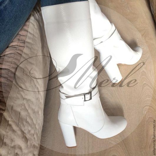 Обувь ручной работы. Ярмарка Мастеров - ручная работа. Купить Сапожки Fabi с ремешками 10 см, белая кожа. Handmade.