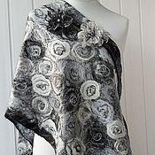 Аксессуары handmade. Livemaster - original item White - grey - black - felted tippet. Handmade.