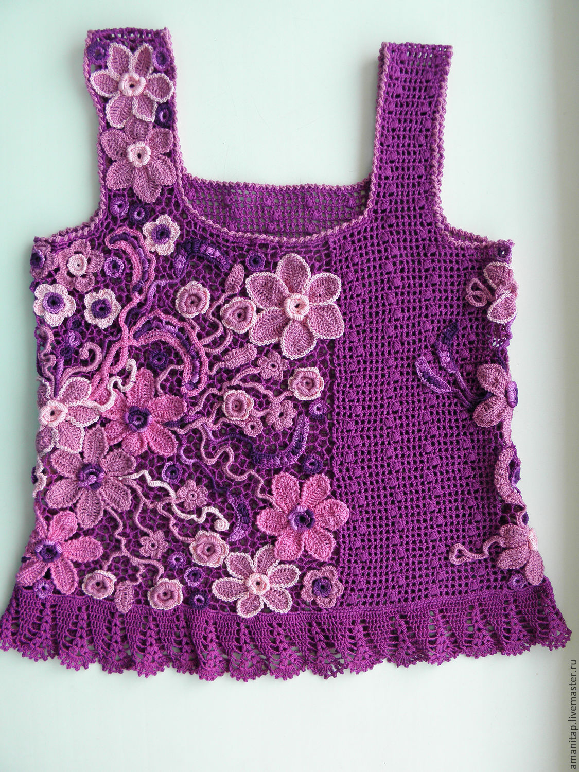 Lace top While Flowers Summer crochet Irish lace – shop online on ...