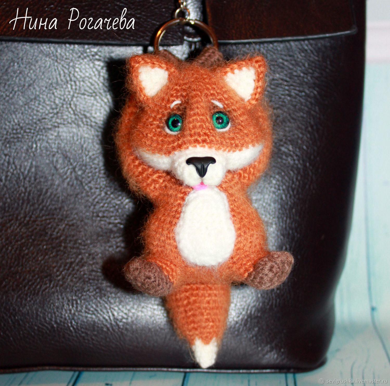 Keychain Fox. Fox knitted, Stuffed Toys, Kandalaksha,  Фото №1