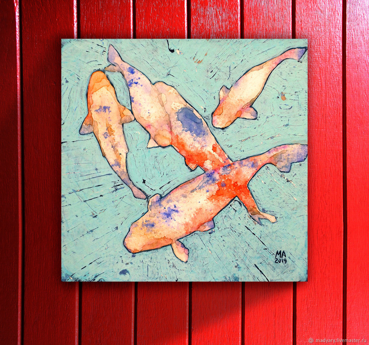 Pop art painting koi Fish (red, turquoise, loft, grunge), Pictures, Smolensk,  Фото №1