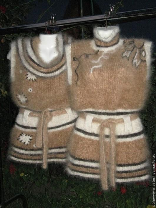 Жилеты ручной работы. Ярмарка Мастеров - ручная работа. Купить Пуховые жилеты с вышивкой. Handmade. Бежевый, жилет вязаный, тепло