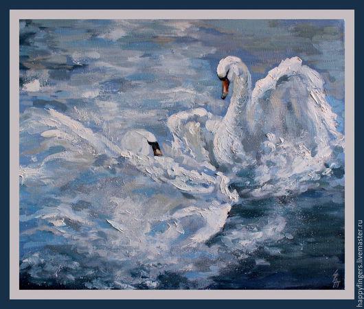 """Животные ручной работы. Ярмарка Мастеров - ручная работа. Купить Картина маслом """"Лебеди"""". Handmade. Голубой, картина лебеди"""