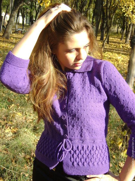 """Пиджаки, жакеты ручной работы. Ярмарка Мастеров - ручная работа. Купить Жакет """"Керри"""". Handmade. Тёмно-фиолетовый, зима"""