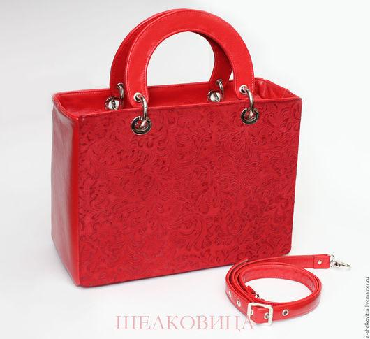 Женские сумки ручной работы. Ярмарка Мастеров - ручная работа. Купить Сумка по мотивам Lady Dior. Handmade. Ярко-красный