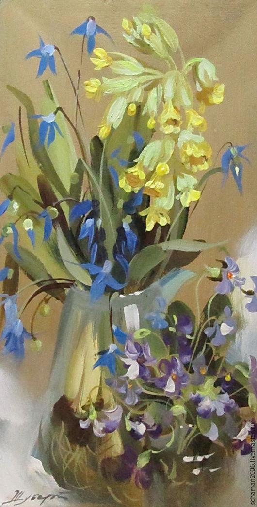 Картины цветов ручной работы. Ярмарка Мастеров - ручная работа. Купить Холст, масло, размер 29,5 х15м, Весенние цветы. Handmade.