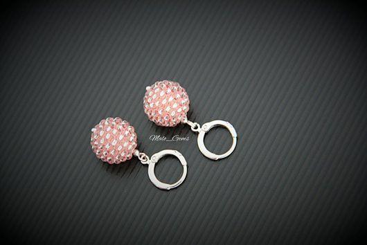 Серьги ручной работы. Ярмарка Мастеров - ручная работа. Купить Изящные серьги из бисера нежно-розового цвета. Handmade.