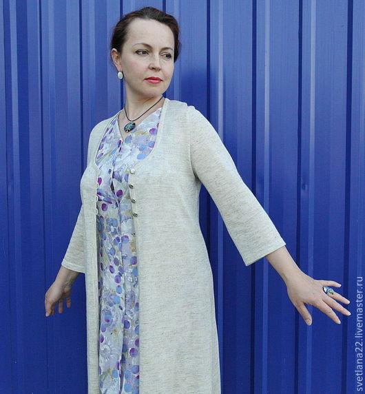 """Верхняя одежда ручной работы. Ярмарка Мастеров - ручная работа. Купить Летнее вязаное пальто""""Любимый лен"""". Handmade. Лен, однотонный"""