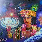 Картины и панно handmade. Livemaster - original item Painting Krishna and the creation of the universe oil on canvas. Handmade.