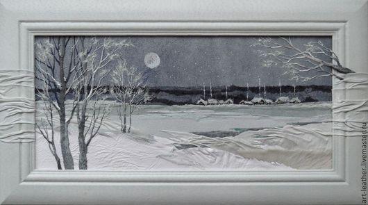 """Пейзаж ручной работы. Ярмарка Мастеров - ручная работа. Купить картина из натуральной кожи """"Просто наступила зима..."""". Handmade."""