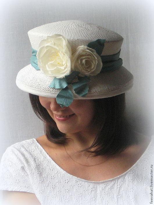 """Шляпы ручной работы. Ярмарка Мастеров - ручная работа. Купить Соломенная шляпа """"Розы"""". Handmade. Белый, шляпка летняя"""