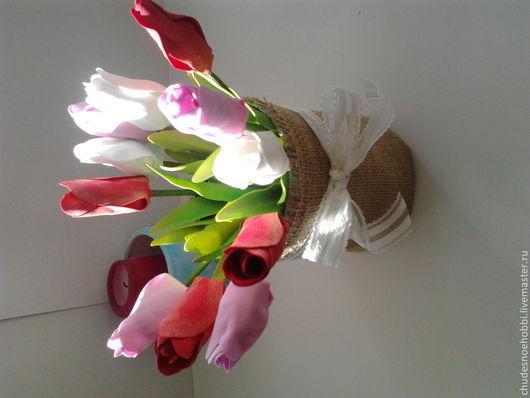 Цветы ручной работы. Ярмарка Мастеров - ручная работа. Купить Тюльпаны. Handmade. Разноцветный, тюльпаны, украшение из фоамирана, фоамиран, кашпо