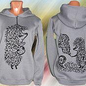 Одежда ручной работы. Ярмарка Мастеров - ручная работа Тату-свитер - Ёжик в тумане (ещё один вариант). Handmade.