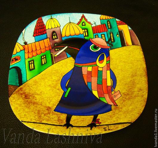 """Декоративная посуда ручной работы. Ярмарка Мастеров - ручная работа. Купить Авторская декоративная тарелка""""Синяя ворона"""". Handmade. ручная работа"""