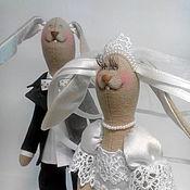 Куклы и игрушки ручной работы. Ярмарка Мастеров - ручная работа Свадебные зайцы 2017. Handmade.