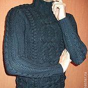 Одежда ручной работы. Ярмарка Мастеров - ручная работа Свитер мужской вязаный с высоким воротом синий шерсть 48-50. Handmade.
