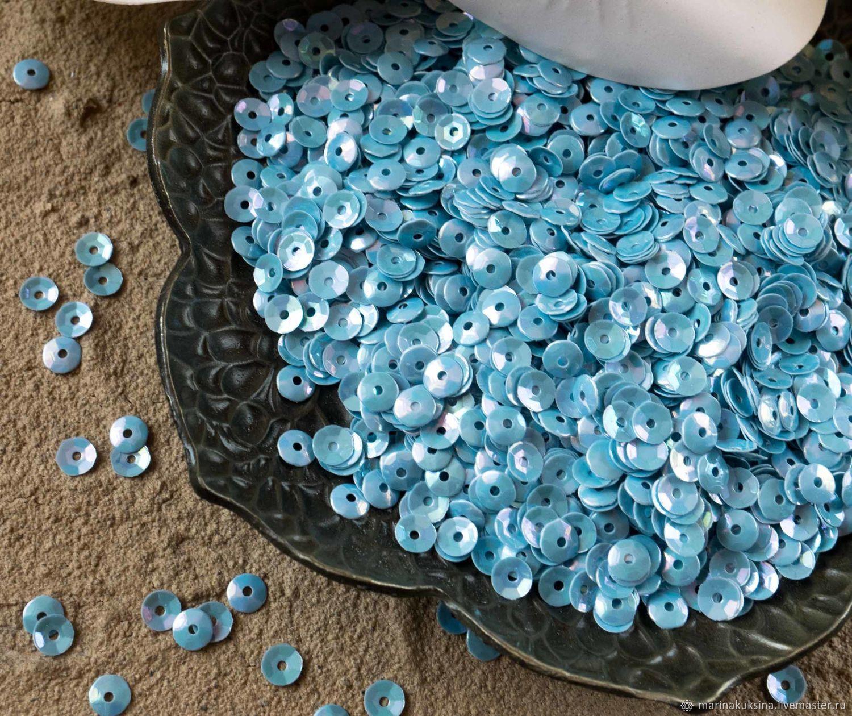 Вышивка ручной работы. Ярмарка Мастеров - ручная работа. Купить Пайетки Италия 4мм чаша Серо-голубой 164. Handmade.