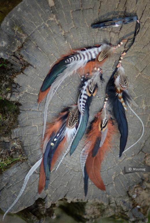 Заколки ручной работы. Ярмарка Мастеров - ручная работа. Купить Заколка с перьями. Handmade. Коричневый, черный