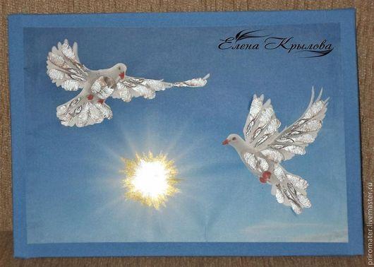 Животные ручной работы. Ярмарка Мастеров - ручная работа. Купить Аппликация из семян клёна-Пара голубей в небе. Handmade. Серебряный