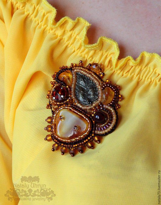 Bracelets handmade. Livemaster - handmade. Buy brooch 'autumn Honey'.Earrings, earrings with agate, pyrite beads