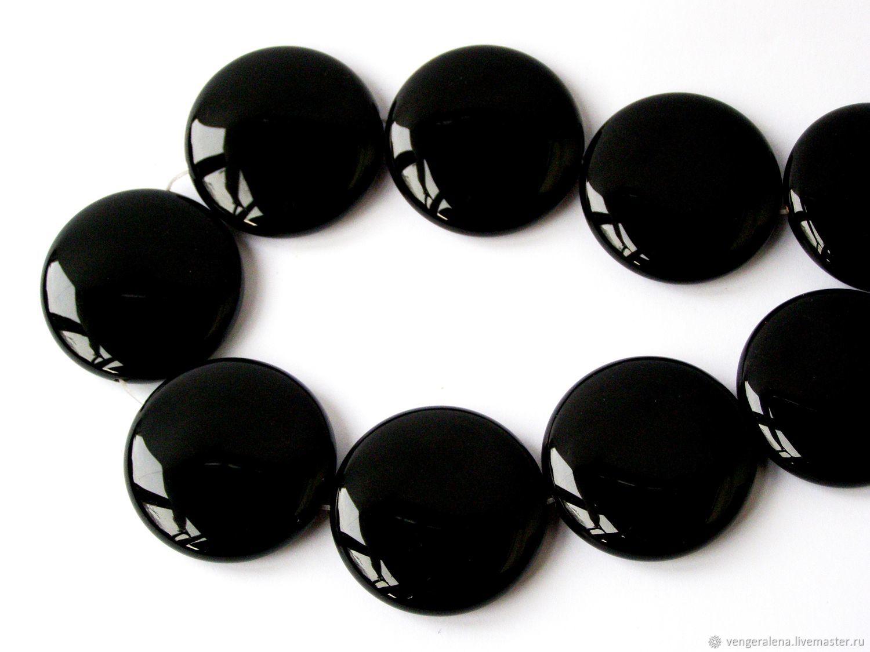 Бусина Кабошон агат круг плоский 40 мм натуральный черный, Для украшений, Черновцы, Фото №1