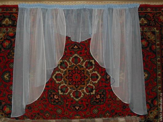 Текстиль, ковры ручной работы. Ярмарка Мастеров - ручная работа. Купить Шторы для кухни из вуали  Голубая дымка. Handmade. Голубой
