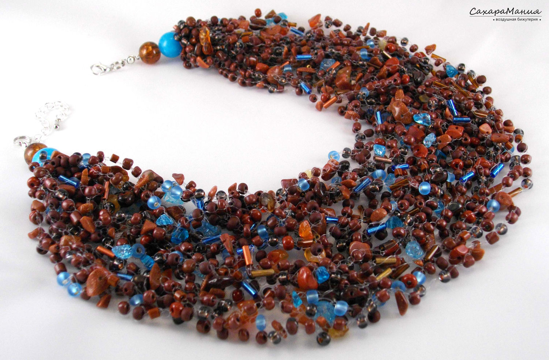 Chunky Necklace Bijoux Layered necklace Crochet jewelry Eco beads ...