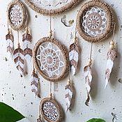 Для дома и интерьера handmade. Livemaster - original item Big white lace dream catcher with crocheted feathers. Handmade.