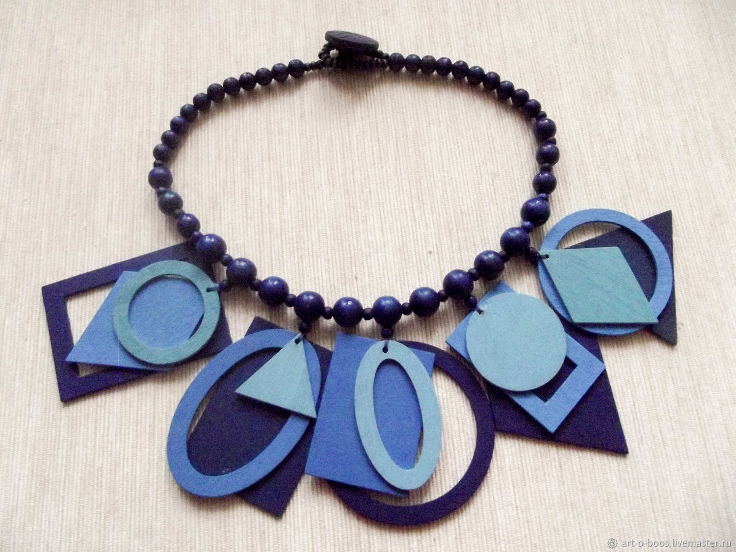 "Wooden necklace ""Three Shades of Blue"", Necklace, Moscow,  Фото №1"