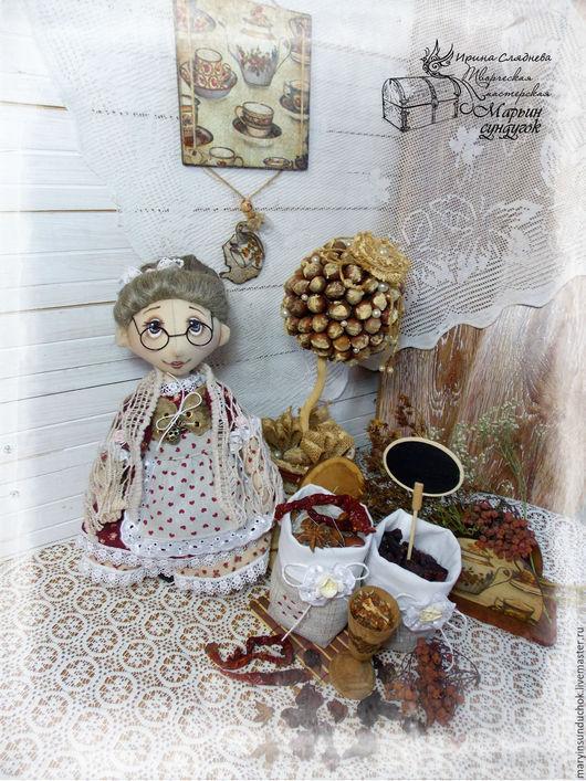 Коллекционные куклы ручной работы. Ярмарка Мастеров - ручная работа. Купить Тетушка Лу. Handmade. Бордовый, лен натуральный