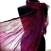 Аксессуары handmade. Livemaster - original item Scarf silk black purple women`s long. Handmade.