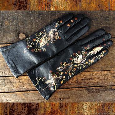 """Accessories handmade. Livemaster - original item Черные перчатки кожаные.""""Кофе с лотосом"""" Размер 8 Роспись. Handmade."""