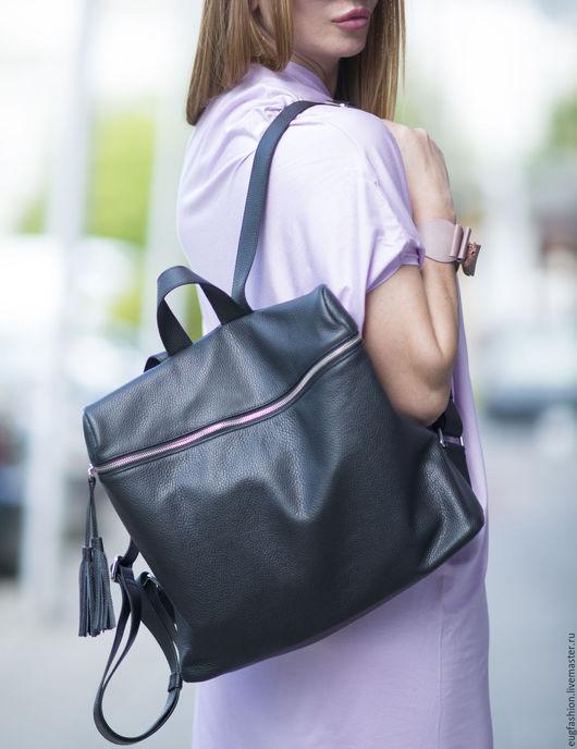 Рюкзак. Черный рюкзак. Сумка-рюкзак. Сумка из натуральной кожи. Ярмарка Мастеров.