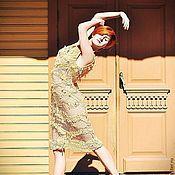 """Одежда ручной работы. Ярмарка Мастеров - ручная работа Платье спицами """"Абрикосовое суфле"""" из шелка муга ручной окраски и шифо. Handmade."""