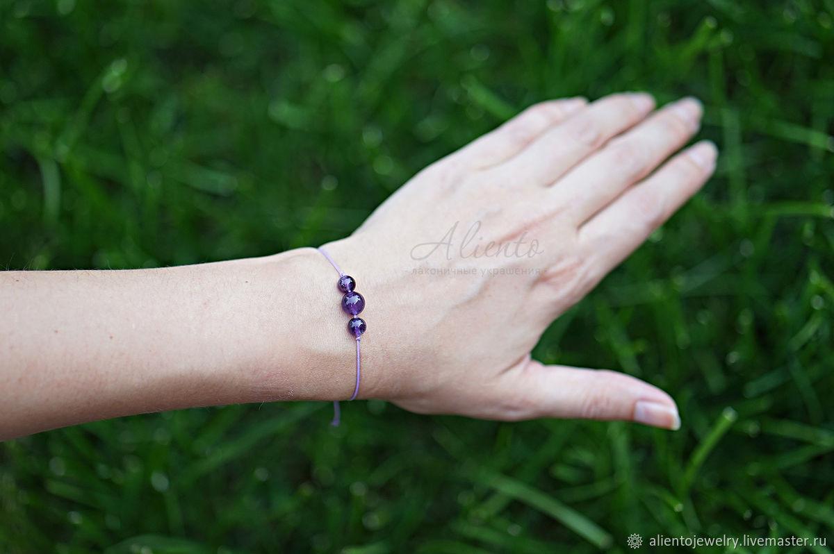 Bracelet-thread: Minimalist bracelet on a thread with amethyst, Bracelet thread, Moscow,  Фото №1