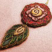 Украшения handmade. Livemaster - original item Bead embroidered rose pendant. Handmade.