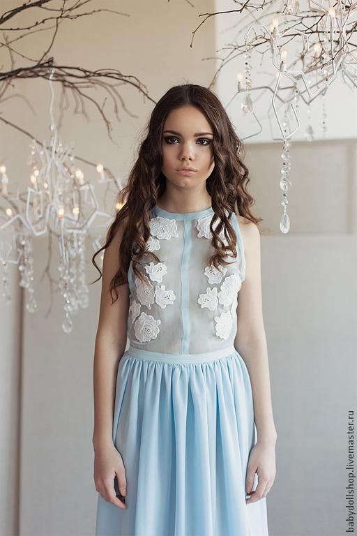 Платья ручной работы. Ярмарка Мастеров - ручная работа. Купить Платье SS15. Handmade. Голубой, платье с цветами, платье коктейльное